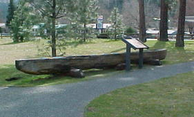 Dugout canoe on display at Canoe Camp National Historical Park
